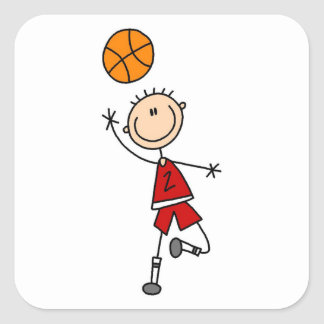 Red Boy Basketball Player t-shirts and Gifts Square Sticker