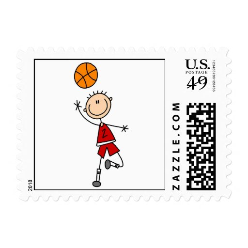 Red Boy Basketball Player t-shirts and Gifts Stamp