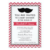 Red Boy Moustache Chevron Baby Shower Card