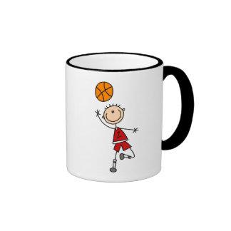 Red Boys Basketball T-shirts and Gifts Ringer Coffee Mug