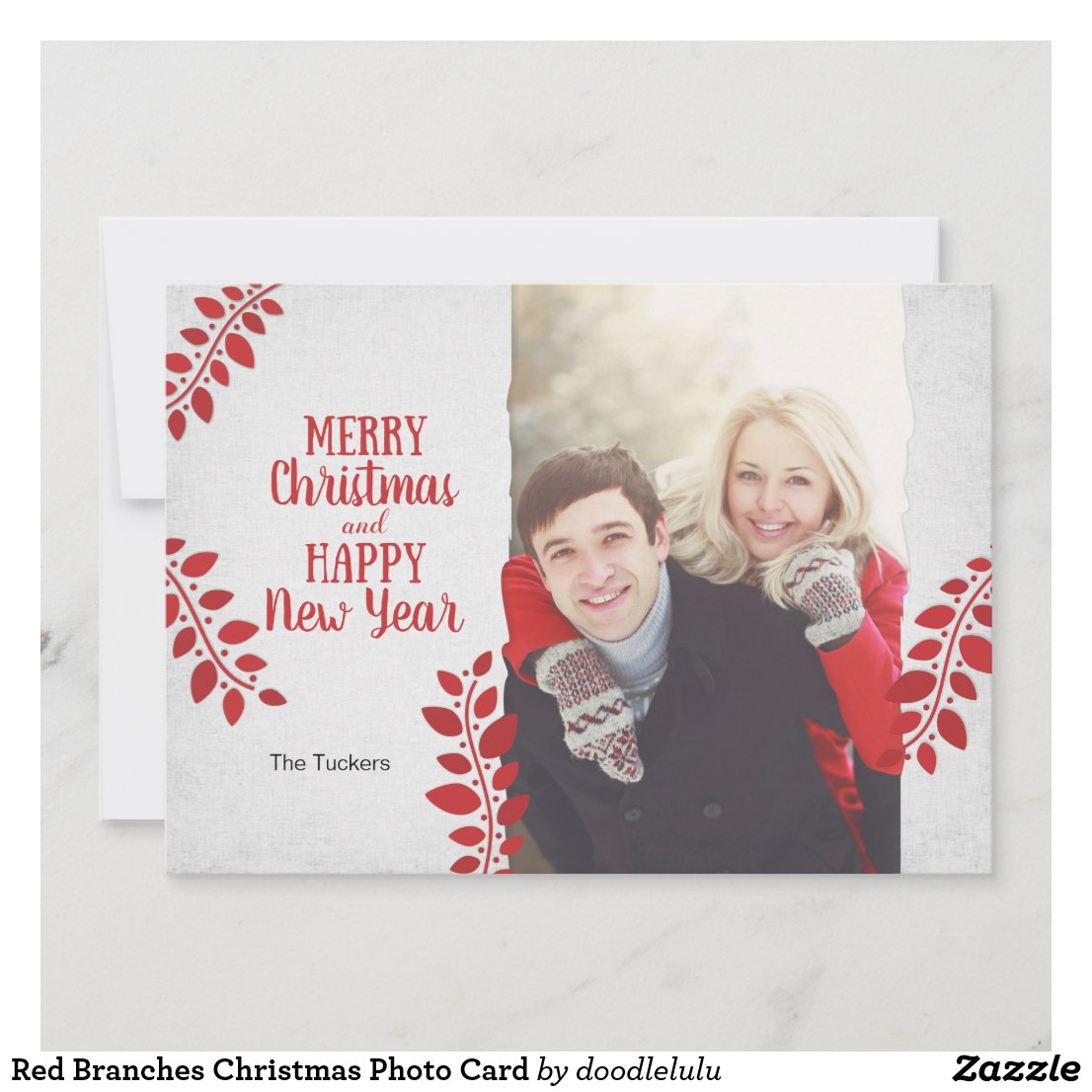 Red Branches Christmas Photo Card