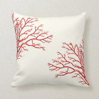 Red Branches on Creamy White Pillow