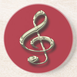 Red & Brass Treble Clef Music Coaster