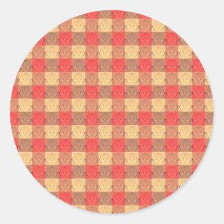 Red Brawn Vintage Grid Pattern Classic Round Sticker