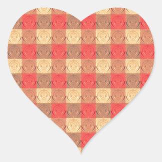 Red Brawn Vintage Grid Pattern Heart Sticker