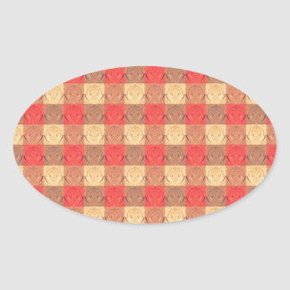 Red Brawn Vintage Grid Pattern Oval Sticker