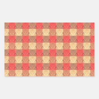 Red Brawn Vintage Grid Pattern Rectangular Sticker
