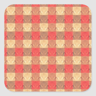 Red Brawn Vintage Grid Pattern Square Sticker