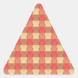 Red Brawn Vintage Grid Pattern Triangle Sticker