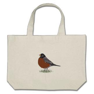 Red Breasted American Robin Digitally Drawn Bird Bag
