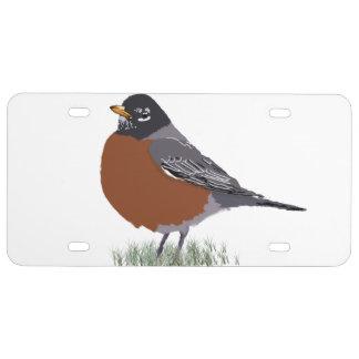Red Breasted American Robin Digitally Drawn Bird License Plate