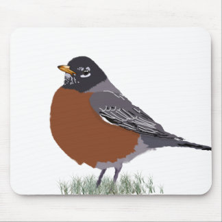 Red Breasted American Robin Digitally Drawn Bird Mouse Pad