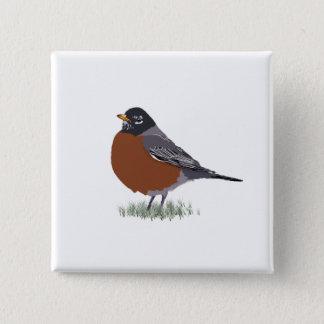 Red Breasted American Robin Digitally Drawn Bird Pinback Button