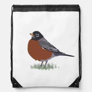 Red Breasted American Robin Digitally Drawn Bird Drawstring Backpacks