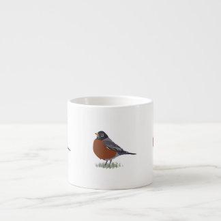 Red Breasted American Robin Digitally Drawn Bird Espresso Mug