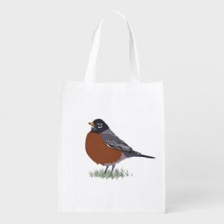 Red Breasted American Robin Digitally Drawn Bird Market Totes