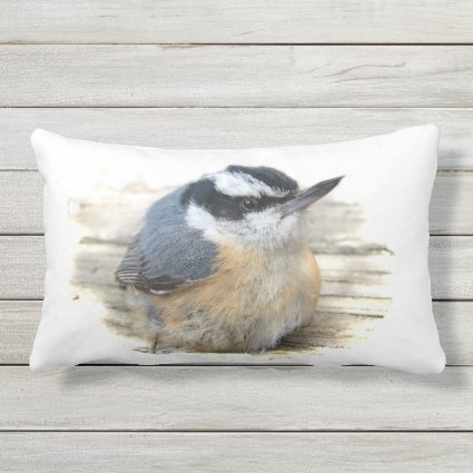 Red-Breasted Nuthatch Bird Animal Outdoor Pillow