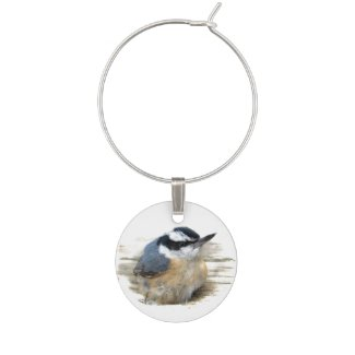 Red-breasted Nuthatch Wine Charm
