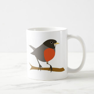 Red Breasted Robin on Branch Classic White Coffee Mug