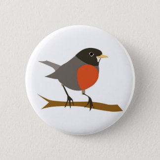 Red Breasted Robin on Branch Pinback Button