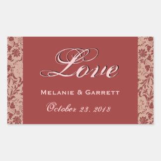 Red Brick and Taupe Wedding Love Floral Damask V14 Rectangular Sticker