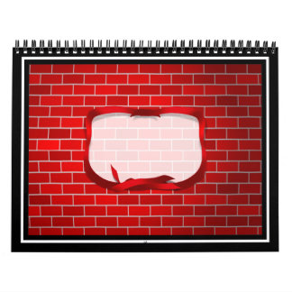 Red Brick Background Wall Calendar