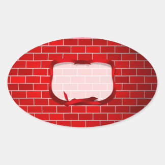 Red Brick Background Oval Stickers