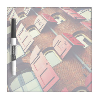 Red brick building with red shutters Dry-Erase board
