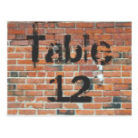Red Brick Graffiti Reception Table Numbers Post Cards