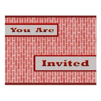 red brick invitation postcard