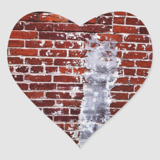 Red Brick Texture heart Stickers