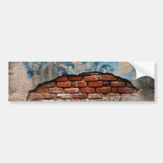 Red Brick Under Graffiti Laced Cement Wall Bumper Sticker