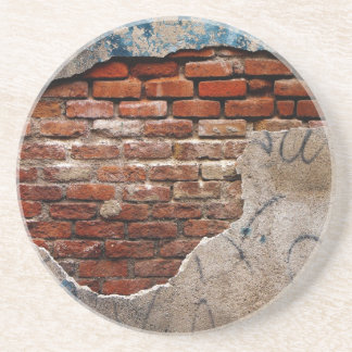 Red Brick Under Graffiti Laced Cement Wall Beverage Coaster