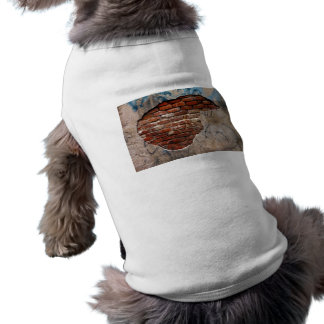 Red Brick Under Graffiti Laced Cement Wall Dog T Shirt