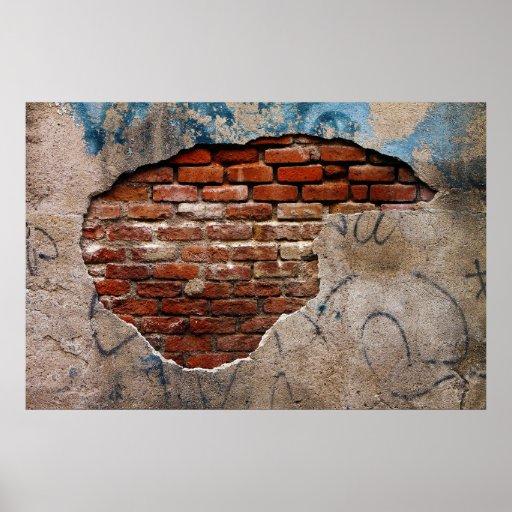 Cement Wall Graffiti : Red brick under graffiti laced cement wall poster zazzle