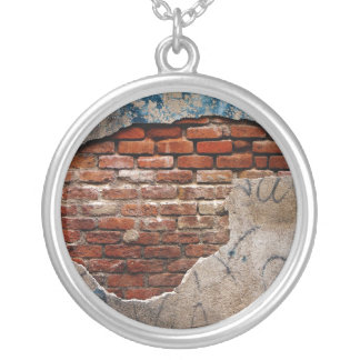 Red Brick Under Graffiti Laced Cement Wall Round Pendant Necklace