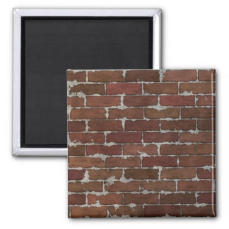 Red Brick Wall 2 Inch Square Magnet