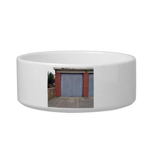 Red Brick Wall and Closed Door Cat Water Bowls