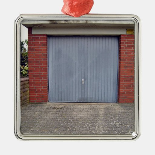 Red Brick Wall and Closed Door Square Metal Christmas Ornament