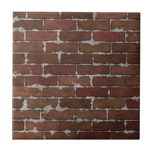 Brick Wall Design Tiles : Red brick wall ceramic tile zazzle