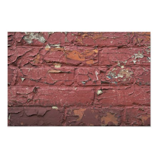 Red brick wall, chipped paint poster