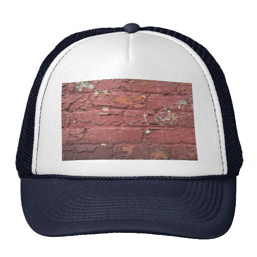 Red brick wall, chipped paint trucker hat