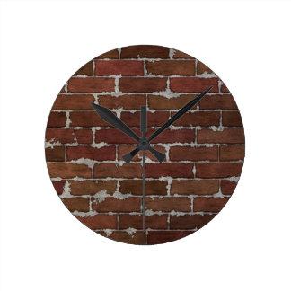 Red Brick Wall Round Wall Clock