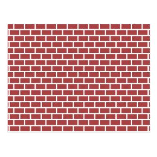 Red brick wall design postcard