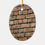 Red brick wall Double-Sided oval ceramic christmas ornament
