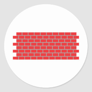 red brick wall classic round sticker