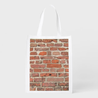 Red Brick Wall Structure Reusable Grocery Bag