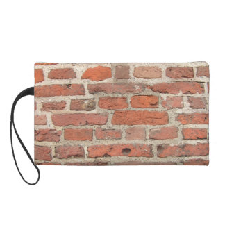Red Brick Wall Structure Wristlet Purse
