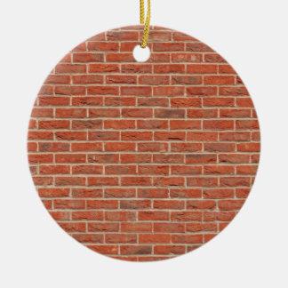 Red brick wall texture round ceramic ornament