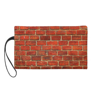 Red Brick Wall Texture Wristlet